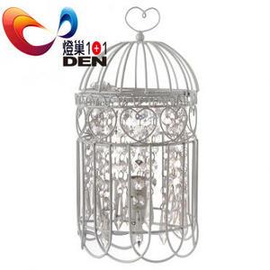 【 燈巢1+1】  燈具。燈飾。Led居家照明。桌立燈。工廠直營批發  白色鳥籠仿水晶金屬桌燈   07036595