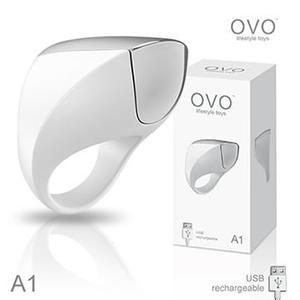 情趣 滿仟9折  德國OVO A1 時尚男性 矽膠靜音時尚震動環 充電式 白色