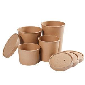 春季上新 一次性湯碗牛皮紙桶圓形外賣便當打包餐盒湯杯粥碗帶蓋100只