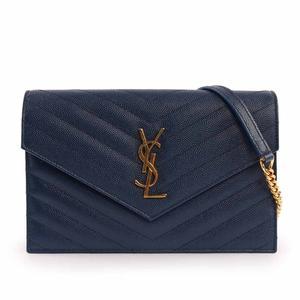 【YSL】V紋荔枝皮金鏈 Logo WOC 斜背包(藍色) 393953 BOW01 4117