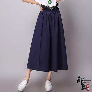 學院風小清新棉麻純色半身裙女士日系百褶大擺長裙 618降價
