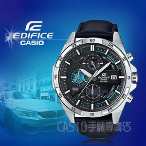 CASIO手錶專賣店 CASIO EDIFICE_EFR-556L-1A_礦物玻璃_碼錶_真皮錶帶_男錶