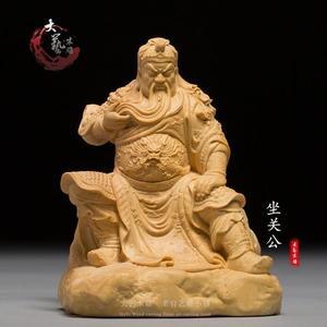 黃楊木關公 木質精致雕刻裝飾工藝品武財神人物像手把件木雕擺件