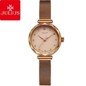 JULIUS 聚利時 浪漫誓言簡約米蘭錶帶腕錶-古銅金/23mm 【JA-829D】