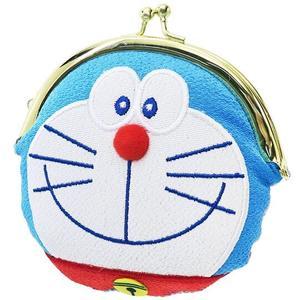 〔小禮堂〕哆啦A夢 造型和風絲質口金零錢包《藍白.大臉》收納包.耳機包 4930972-48038