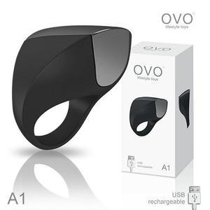 情趣用品-調情商品 德國OVO A1 時尚男性 矽膠靜音時尚震動環 充電式 黑色 +潤滑液1包