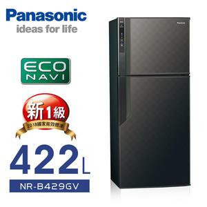 【 國際牌】ECONAVI。422L雙門變頻電冰箱/黑NR-B429GV-K