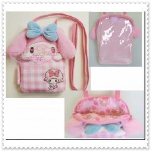 小花花日本精品♥ Hello Kitty 立體造型 粉色 透明層可放手機 繩子可拆 隨身小包 斜背包 88826103