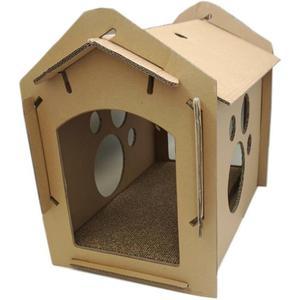 紙箱DIY貓屋帶抓板 貓玩具 貓屋貓抓板瓦楞紙抓板 CY 【PINKQ】