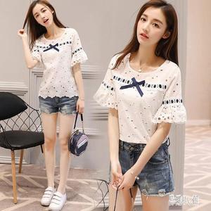 蕾絲上衣 白色短袖蕾絲t恤女夏季韓版鏤空喇叭袖內搭上衣 DJ9540『易購3c館』