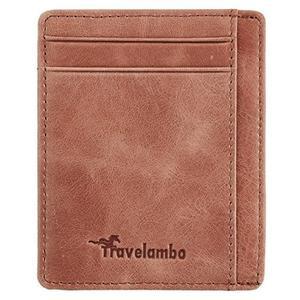 Travelambo-RFID技術真皮輕巧蠟棕色皮夾