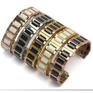 手錶帶陶瓷不銹鋼手錶帶 適配guess 鐵達時ck dw鋼帶手錶鍊 18mm男女16