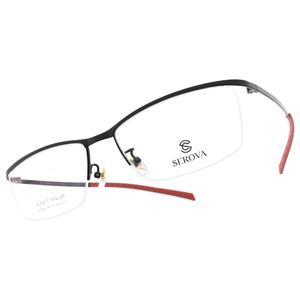 SEROVA 光學眼鏡 SP296 C77 (黑-紅) 純鈦質感半框款 眼鏡框 #金橘眼鏡