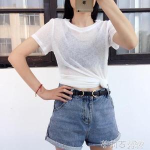 薄短袖t恤女微透視上衣修身顯瘦網紗打底衫內搭半袖  茱莉亞