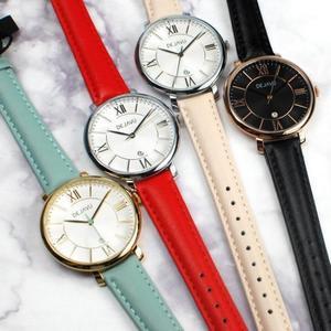 DEJAVU 羅馬時刻 繽紛色系 指針錶 學生手錶 日期顯示窗 皮革 女錶 DJ-5022米