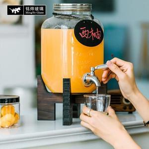 4升8升玻璃瓶 木架子字母果汁罐無鉛玻璃帶水龍頭不銹鋼釀酒瓶酵  HM 居家物語