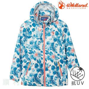荒野 WILDLAND 兒童抗UV輕薄印花外套 0A61960 地中海藍 排汗外套 防曬外套 OUTDOOR NICE