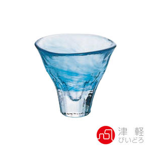 日本津輕 手作雲彩清酒杯55ml-藍 品酒必備 小酌 清酒杯 手作玻璃杯 好友聚會 微醺好時光 好生活
