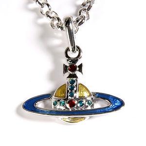 Vivienne Westwood 經典ORB行星彩色水晶項鍊(藍綠色)910603