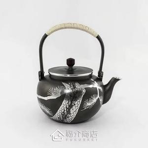 日本錫器【大阪浪華】錫壺 松 湯沸0.72L 錫製茶壺老鐵壺 沖泡壺煮水煮茶