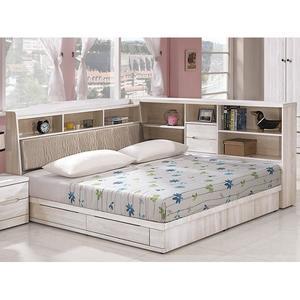 床架 CV-121-1A 瑪奇朵北歐栓木彩繪5尺雙人床 (床頭+床底)(不含床墊) 【大眾家居舘】