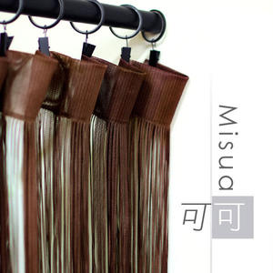 Misua線簾-可可 90×245cm 附伸縮桿 可用作門簾/窗簾/隔間簾/裝飾簾/台灣製MIT
