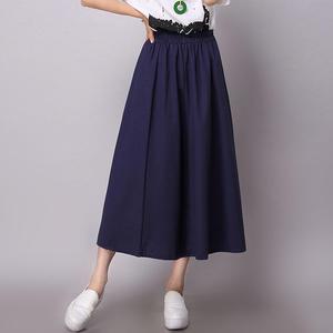 洋裝 百褶裙 學院風小清新棉麻純色半身裙 日系百褶大擺長裙中國風