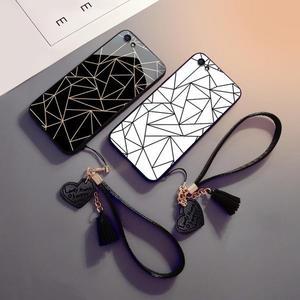 新款幾何oppor9s手機殼女款oppor9玻璃殼r9splus硅膠全包r9plus外殼套掛繩支架抖音網紅潮 探索先鋒