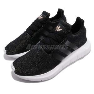 【五折特賣】adidas 休閒慢跑鞋 Swift Run W 黑 白 金蔥 編織鞋面 襪套式 運動鞋 女鞋【PUMP306】CQ2018