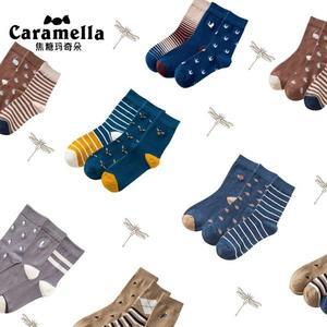 CARAMELLA襪子男士春秋季純棉中筒長襪運動吸汗防臭潮流全棉襪錢夫人小鋪