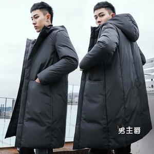 羽絨服外套 男中長版過膝大衣2019冬裝正韓加厚修身青年潮
