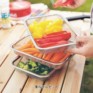 日本製油炸鍋盤保鮮盒不鏽鋼油炸盤瀝油組瀝水籃060234通販屋