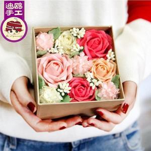 免裁剪永生花禮盒情侶生日禮物玫瑰 不織布手工制作diy創意材料包