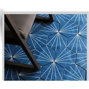 浴室六角地磚 花磚 深藍色瓷磚 拼花磚