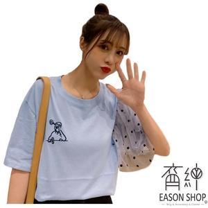 EASON SHOP(GW2216)實拍小塗鴉刺繡薄款短版不規則圓波點點蕾絲拼接袖圓領短袖T恤女上衣服內搭衫棉T
