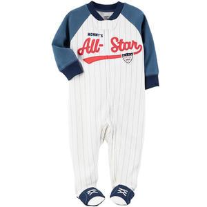 Carter's Carter s 美國童裝 連身衣 長褲 長袖 包腳 白色 棒球服 3M 6M