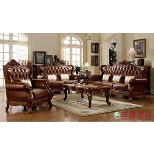 【大熊傢俱】A21A 玫瑰系列 真皮沙發 多件沙發組 皮沙發 客廳沙發 雙人沙發 實木雕花 實木沙發