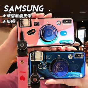 SAMSUNG NOTE9/NOTE8/S9/S9 PLUS 抖音網紅相機造型設計藍光IMD掛繩氣囊支架手機殼(二色)【CSAM068】