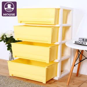 【HOUSE】大面寬-夏日超大四層玩具衣物收納櫃(多色可選)黃色