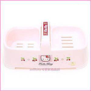 衛浴【asdfkitty】KITTY亮草莓高低肥皂盒-置物籃-香皂架-放洗衣刷菜瓜布-韓國製