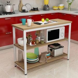 廚房切菜桌小桌子餐桌家用多功能鋼木桌長桌定制置物架廚房操作台【閒居閣】