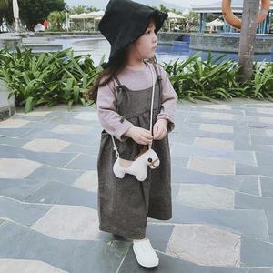 小格子寬鬆吊帶褲九分闊腿褲 褲裙 (肩帶可調) 寬褲 橘魔法 Baby magic 現貨 兒童 童裝 女童
