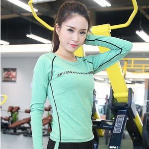 【Love Shop】韓國新款運動戶外修身字母長袖女士健身瑜伽跳操舞蹈服T恤上衣