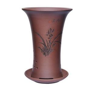 陶瓷花盆 蘭花盆陶瓷透氣紫砂花盆帶托盤小號吊蘭君子蘭藍蘭草蘭花專用花盆 莎瓦迪卡