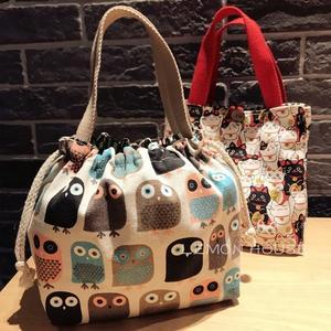 日式飯盒袋可愛便當包帆布抽繩手提便當袋學生女帶飯包加厚拎
