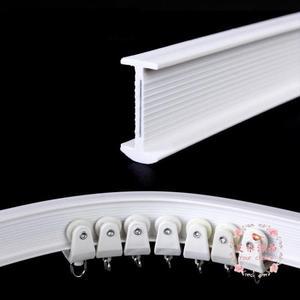 窗簾軌道 彎軌道重型靜音可彎曲滑輪窗簾桿弧形U型飄窗滑道
