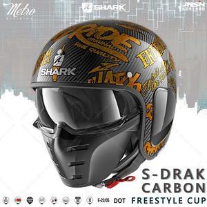 [中壢安信]SHARK S-DRAK CARBON FREESTYLE CUP金 碳纖 復古帽 安全帽HE2708DQQ