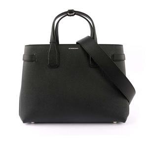 【BURBERRY】THE BANNER VINTAGE中型格紋皮革包(黑色) 8006323 A1189