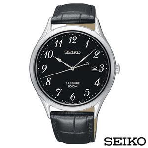 SEIKO精工  時光領袖藍寶石鏡面石英皮帶腕錶 SGEH77P1
