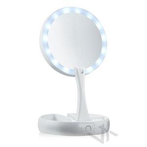 【現貨不用等】led化妝鏡 補光梳妝鏡子 台式帶燈  收納鏡子  便攜宿舍 可折疊式 自拍補光燈
